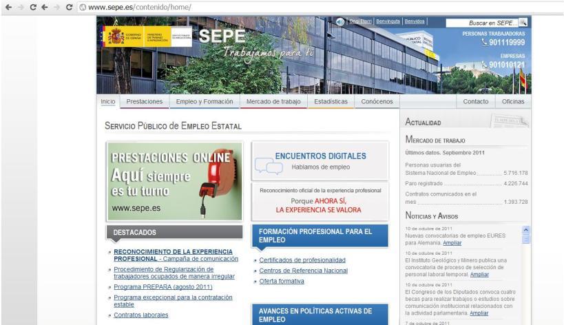 Página de Inicio del SEPE (Servicio Público de Empleo Estatal)